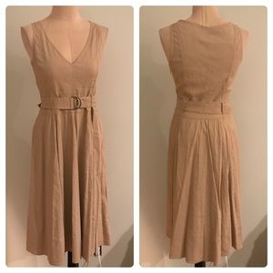 Theory Kiana Tan Linen Belted Midi Dress 12
